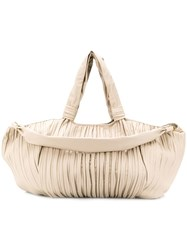 Max Mara Large Pleated Nappa Shopper Neutrals