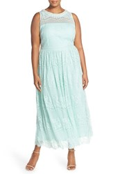 Plus Size Women's London Times Embellished Neck Lace Gown