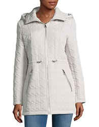Karl Lagerfeld Hooded Quilted Coat Cement