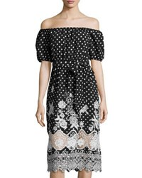 Free Generation Polka Dot Lace Trim Off The Shoulder Dress Black White