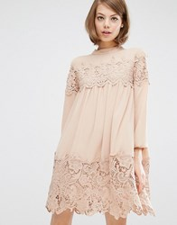 Fashion Union Long Sleeve Smock Dress With Lace Inserts Nude Beige