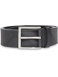 Burberry London Check And Leather Belt Grey