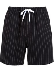 Second Layer Pinstripe Shorts Black