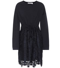 See By Chloe Cotton Lace Minidress Blue