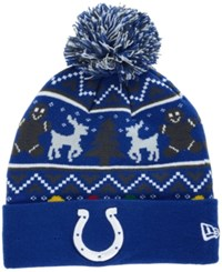 New Era Indianapolis Colts Christmas Sweater Pom Knit Hat