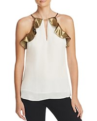 Chelsea And Walker Ruffle Silk Tank Ivory Gold