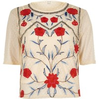 River Island Cream Dobby Mesh Floral Embroidered T Shirt