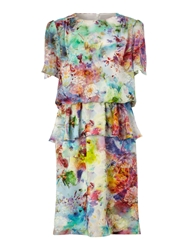 Untold Digital Print Peplum Dress Multi Coloured