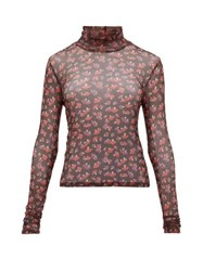 Staud Roll Neck Mushroom Print Mesh Top Black Multi