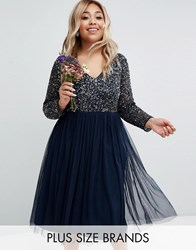 Lovedrobe Luxe Long Sleeve V Neck Midi Dress With Delicate Sequin And Tulle Skirt Navy