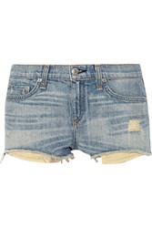 Rag And Bone Mila Distressed Cut Off Denim Shorts Blue