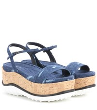 Miu Miu Denim Platform Sandals Blue