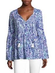 Lilly Pulitzer Kahli Blouse Blue Grotto