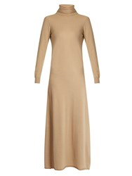Raey Roll Neck Cashmere Dress Camel
