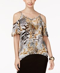 Thalia Sodi Cold Shoulder Necklace Top Only At Macy's Deep Black Combo