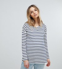 Isabella Oliver Relaxed Stripe Long Sleeve T Shirt Navy White