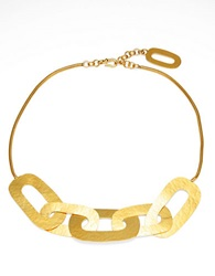 Herve Van Der Straeten Hammered Link Necklace Gold