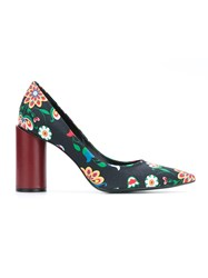 Reinaldo Lourenco Flower Print Pumps Women Cotton 35 Black