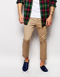 Asos Skinny Chinos In Cropped Length Stone