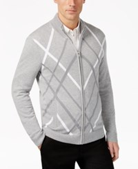 Alfani Men's Pattern Zip Front Cardigan Only At Macy's Smooth Silver