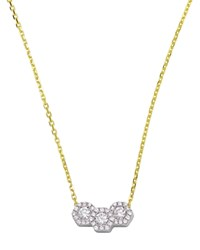 Frederic Sage 18K White And Yellow Gold Firenze Triple Hexagonal Diamond Pendant Necklace 16 White Gold