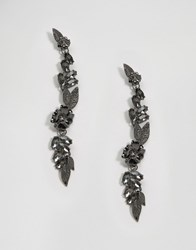 Asos Flower Metal Vine Strand Earrings Gunmetal Silver