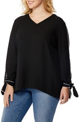 Rebel Wilson X Angels Plus Size Women's Tie Cuff Piped Blouse Black