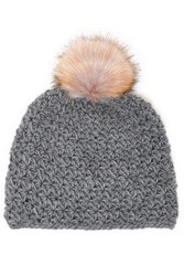 Surell Pompom Embellished Knitted Beanie Gray