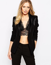 Supertrash Jeremy Blazer With Contrast Lapel Black