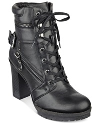 G By Guess Women's Gogi Lace Up Booties Women's Shoes Black