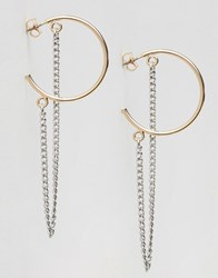 Monki Hoop Chain Earrings Gold