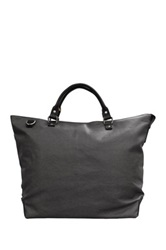 Maker And Company Leather Trim Waxed Canvas Tote Bag Gray
