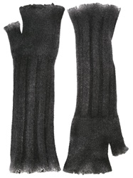 Avant Toi Fingerless Long Gloves Grey