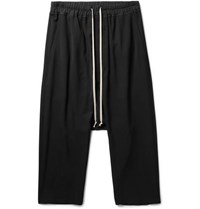 Rick Owens Cropped Woven Drawstring Trousers Black
