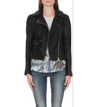 Karen Millen Signature Metallic Detail Leather Biker Jacket Black