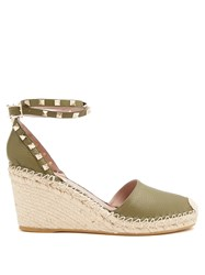 Valentino Rockstud Leather Wedge Espadrilles Khaki