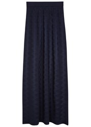 M Missoni Navy Wool Blend Maxi Skirt