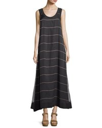 Brunello Cucinelli Striped Silk Blend Maxi Dress Gray Brown
