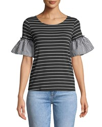 Casual Couture Mixed Pattern Flutter Sleeve Tee Black White