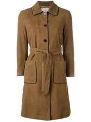 L'autre Chose Trench Coat With Contrast Black Piping Brown