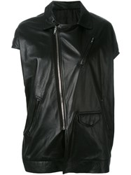 Rick Owens Asymmetric Short Sleeve Biker Jacket Black