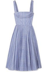 Lela Rose Pleated Checked Coated Poplin Dress Blue