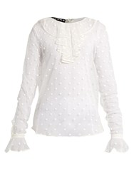 Rochas Polka Dot Embroidered Tulle Blouse White