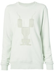 Rick Owens Drkshdw Embroidered Crew Neck Sweatshirt Women Cotton M Nude Neutrals