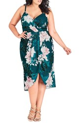 City Chic Plus Size Jade Bloom Faux Wrap Dress Jade Blossom