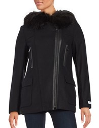 Calvin Klein Faux Fur Trimmed Wool Blend Coat Black