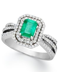 Macy's 14K White Gold Ring Emerald 1 Ct. T.W. And Diamond 1 2 Ct. T.W. 2 Row Ring Green