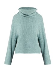 Toga Roll Neck Ribbed Knit Wool Sweater Light Blue