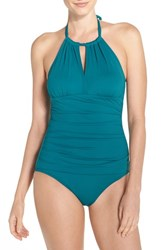 Tommy Bahama Women's 'Pearl' High Halter Neck One Piece Swimsuit Tidal Teal