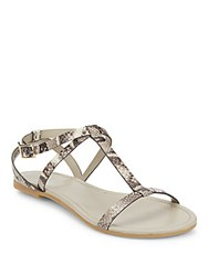 Cole Haan Snake Embossed Leather T Strap Sandals Roccia